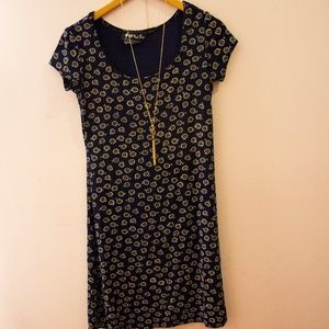 Vintage Navy & Yellow Sunflower Printed Mini Dress
